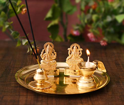 Collectible-India-Pooja-thali-Set-For-Aarti-Home-Metal-Laxmi-Ganesh-Idol-Showpiece-Traditional-Diya-Oil-Puja-Lamp-Agarbatti-Incense-Stick-Holders-Puja-Article-Spiritual-Diwali-Decoration-Gift-Items