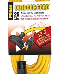 Prime EC600825 Extra Heavy Duty 25-Foot Outdoor Generator Extension Cord 3-Conductor Triple Tap