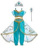 Soyoekbt Girls Princess Jasmine Costume Halloween Party Dress Up for Kids 3-4Years 110 Blue