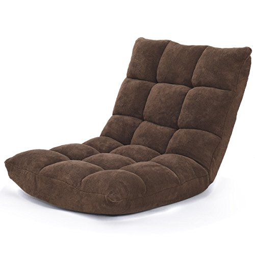 Giantex 14-Position Floor Folding Gaming Sofa Chair Lounger Folding Adjustable Sleeper Bed Couch Recliner (Brown)