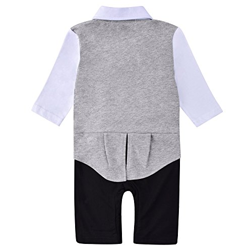 98d983c1594 ZOEREA 1pc Baby Boys Tuxedo Gentleman Onesie Romper Jumpsuit Wedding Suit  ...