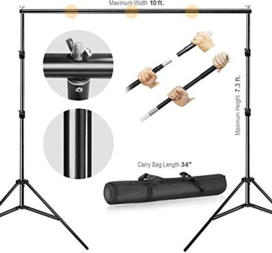 Julius-Studio-Photo-Video-Studio-10-ft-Wide-Cross-Bar-73-ft-Tall-Backdrop-Stand-Background-Support-System-Kit-with-Clamp-Sand-Bag-Carry-Bag-Photography-Studio-JSAG283