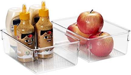 Ettori Refrigerator Organizer Bin-Pantry Organizer and Storage for Cabinet, Kitchen- Stackable Clear Freezer Organizer Bin-2 Pack
