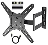 TV Wall Mount Bracket fits to Most 26-55 inch LED,LCD,OLED Flat Panel TVs, Tilt Full Motion Swivel Articulating Arms, TV Bracket VESA 400X400, 77lbs Loading with HDMI Cable, Cable Ties EVERVIEW