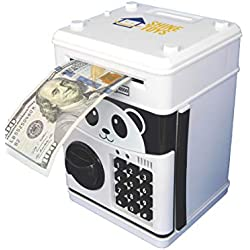 Shine-toys Cartoon Electronic Password Auto Scroll Paper Money Piggy Bank Cash Coin Can (White)
