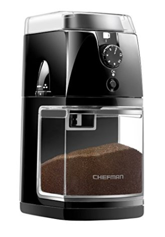Chefman Coffee Grinder Electric Burr-Freshly 8oz Beans Large Hopper & 17 Grinding Options for 2-12 Cups, Easy One Touch Operation, Dishwasher Safe Parts, Cleaning Brush Included, Black