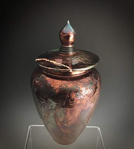 Large Ceramic Cremation Urn for Ashes, Copper Leaf Kintsugi Raku Pots, SacredUrnsEtc by Susan Fontaine Pottery