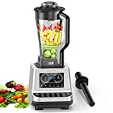 Commercial Blender Heavy Duty Food Processor for Smoothie Shakes Soup Nuts Batter, Countertop Smoothie Blender 1600W Professional Kitchen High-Speed Blender (Black)