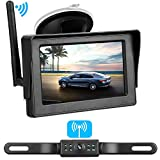 Emmako Backup Camera Wireless and 4.3'' Monitor System For Cars/SUVs/Mini Vans HD Color Night Vision IP68 Waterproof Rear/Front View Camera Guide Lines On/Off Reversing Use