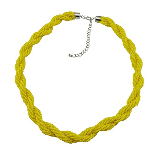BOCAR Fashion Seed Beads Statement Twist Collar Necklace (NK-10408-yellow)