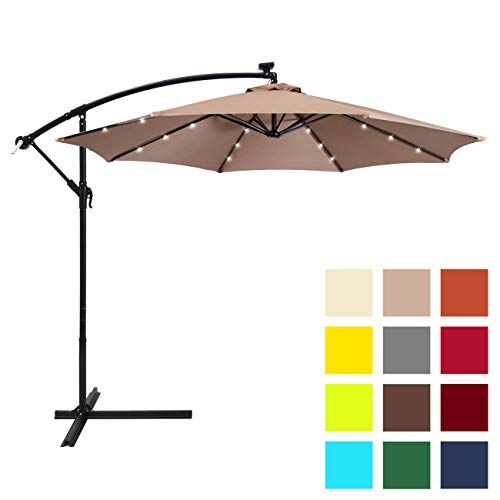 Best Choice Products 10ft Solar LED Offset Hanging Market Patio Umbrella w/Easy Tilt Adjustment, Polyester Shade, 8 Ribs for Backyard, Poolside - Tan