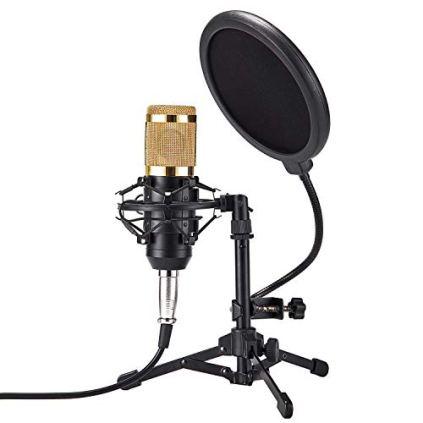 ZINGYOU-Desktop-Microphone-Set-ZY-801-Condenser-Microphone-Professional-Studio-Cardioid-PC-Mic-Bundle-for-Studio-Recording-and-Broadcasting-Sunrise-Gold