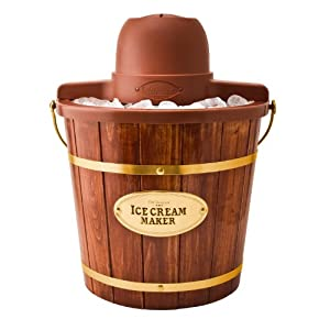 Nostalgia ICMW400 4-Quart Wood Bucket Ice Cream Maker with Easy Carry Handle