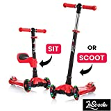 Lascoota 2-in-1 Kick Scooter for Kids with Removable Seat Great for Kids & Toddlers Girls or Boys -...