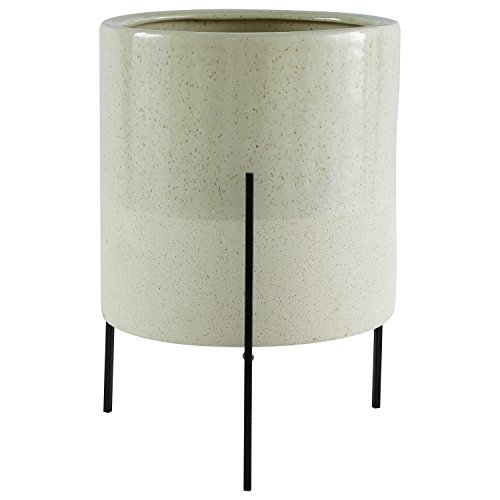 Rivet Mid-Century Ceramic Planter with Iron Stand, 17'H, Pale Green