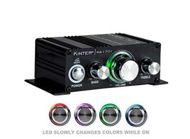 Kinter-MA170-2-Channel-Auto-Home-Cycle-Arcade-DIY-2-x-18-W-Mini-Amplifier-Bass-Treble-RCA-Input-Audio-Mini-Amplifier-with-12V-3A-Power-Supply-Black