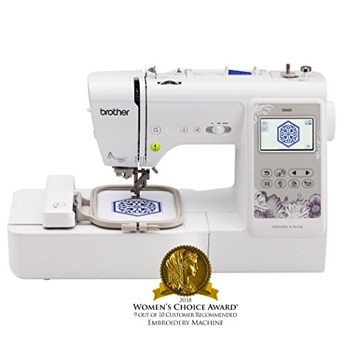 Brother Sewing Machine, SE600, Computerized Sewing and Embroidery Machine with 4' x 4' Embroidery Area, 80 Embroidery Designs, 103 Built-In Sewing Stitches, White