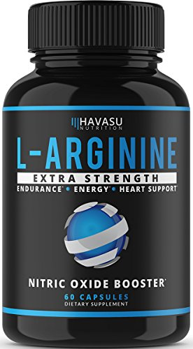 Extra Strength L Arginine - 1200mg Nitric Oxide Supplement for Muscle Growth, Vascularity & Energy - Powerful No Booster with L-Citrulline & Essential Amino Acids to Train Longer & Harder; 60 Capsules