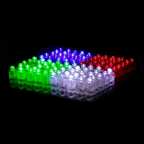 100 Pack LED Finger Light Party Supplies Glow In The Dark Favors For Kids Adults Bulk Toys 25 Each Red White Blue Green