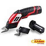 Hi-Spec 3.6V Electric Scissors with Release Safety Switch & Extra Battery and 2 x Cutting Blades. Up to 70 Minutes Continuous Cutting