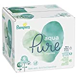 Pampers Aqua Pure Water-Based Baby Diaper Wipes, 6 Pop-Top Travel Packs - Hypoallergenic, Sensitive, and Unscented - 336 Count