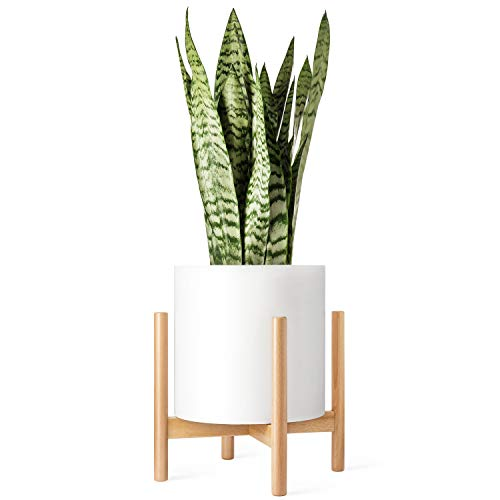Mkono Plant Stand Mid Century Wood Flower Pot Holder Display Potted Rack Rustic, Up to 12 Inch Planter (Plant and Pot NOT Included), Natural