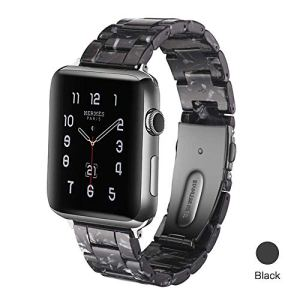 JVCV-Resin-Watch-Band-38-mm-40-mm-Compatible-with-Apple-Watch-Series-54321-Women-Men-with-Stainless-Steel-Buckle-Apple-Watch-Wristband-Strap-3840-mm-Black