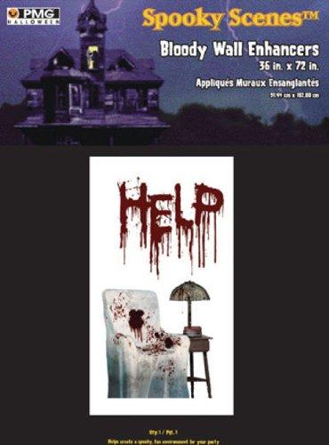 Paper Magic Mens Halloween Help Bloody Wall Poster White Medium