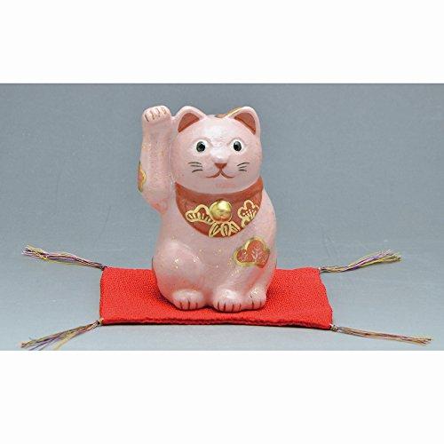 Kiyomizu-kyo yaki ware. Japanese ceramic ornament. Beckoning cat pink. Fortune manekineko. kymz-ERP143