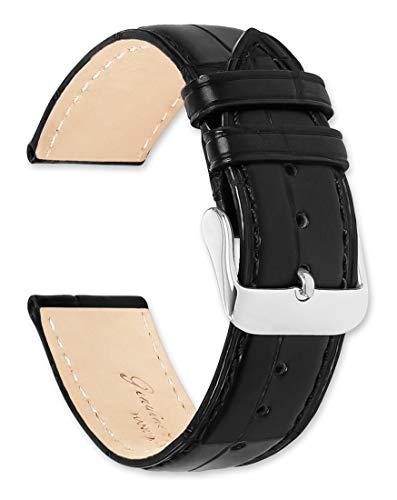 Genuine Alligator Watchband Black 20mm Watch Band by deBeer