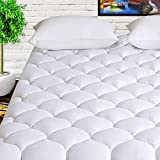 HARNY Mattress Pad Cover King Size 400TC Cotton Pillow Top Cooling Breathable Mattress Topper Quilted Fitted with 8-21' Deep Pocket