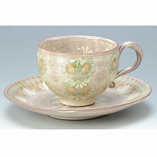 Kiyomizu-kyo yaki ware. Coffee teacup and saucer shisuimon with paper box. Ceramic. kymz-CTM699