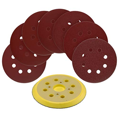 5-Inch 8-Hole Hook and Loop Random Orbit Sander Pad Replaces Milwaukee OE # 51-36-7090 (Compatible with Milwaukee, Ryobi and Ridgid Tools) with 70pcs 5-Inch 8-Hole Hook and Loop Sanding Discs