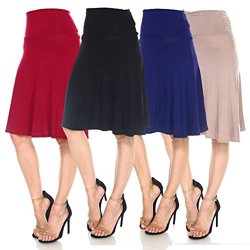 4 Pack of Women's Midi A-Line Basic Skirts – Solid with Fold Over Waist Band Flare Design 15 Fashion Online Shop gifts for her gifts for him womens full figure