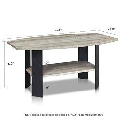 FURINNO Simple Design Coffee Table, French Oak Grey/Black