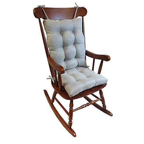 Klear Vu Omega Rocking Chair Pad Set, Seat: 17 x 17 x 3 inch Seat Back: 17 x 21 x 3 inch, Gray