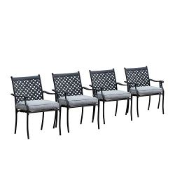 LOKATSE HOME 4 Piece Outdoor Patio Metal Wrought Iron Dining Chair Set with Arms and Seat Cushions – Grey