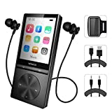 16GB MP3 Player with Bluetooth, Portable Music Player with FM Radio/Voice Recorder Metal Body with Armband for Sport, Support Up to 128GB (Black)