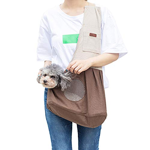 Soyan Adjustable Pet Sling Carrier for Small Dogs and Cats, with Safety Collar Hook and Felt Cardboard Inside 1