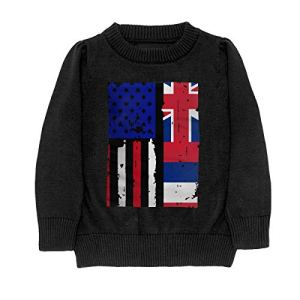 HJKNF58Q Hawaii State American USA Flag Pride Sweater Youth Kids Funny Crew Neck Pullover Sweatshirt