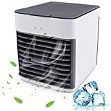 MOSFiATA Mini Portable Air Conditioner, 3 in 1 Personal Air Cooler AC Air Conditioner Purifier with 3 Speeds Fan 7 Colors LED Sleeping Lights for Room Indoor Office Bedroom Living Room