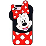 TopSZ Case for iPhone SE 5 5S 5C,Cute Silicone Couple Lover Love 3D Cartoon Cool Kawaii Animal Cover,Soft Rubble Skin for iPhone 5,Funny Unique Character Cases for Kids Girls Teens boy Guys-Minnie
