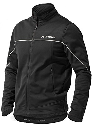 INBIKE Men's Cycling Jacket, Winter Fleece Thermal Windproof Soft Shell Wind Coat (L, TJJ)