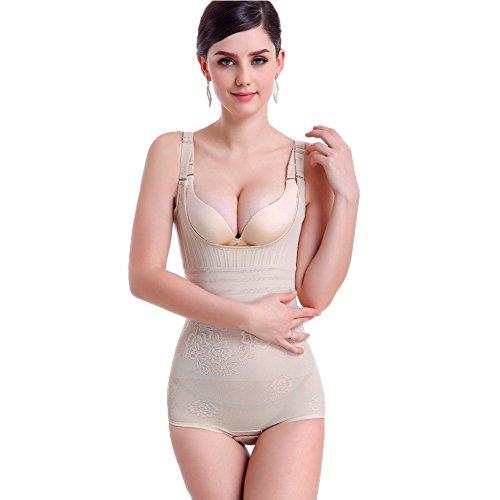 HaloVa Women's Shapewear, Corset Bodysuit Slimming Bodyshaper, Skin Color, L