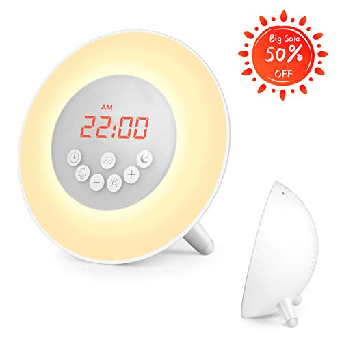 Sunrise Alarm Clock, Wake Up Light with Big Screen Brightness Dimmer & Steady Base, 6 Nature Sounds, FM Radio, Touch Control - with Snooze Function for Bedrooms, Kids, Heavy Sleepers (White)