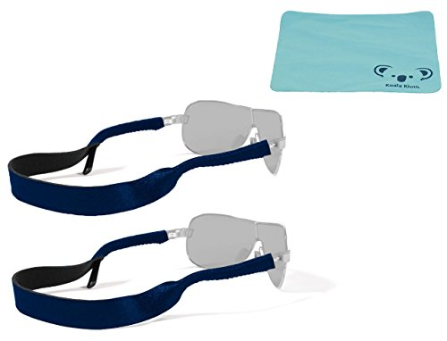 Croakies Original Neoprene Eyewear Retainer Sunglass Strap Band | Eyeglass & Sports Glasses Holder Keeper Lanyard | 2pk Bundle + Cloth, Navy