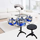 Kids/Junior Drum Set with Adjustable Throne, Cymbal & Drumsticks, Metallic Blue Christmas Toy Gift
