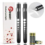 Opoway Nurse Penlight with Pupil Gauge LED Medical Pen Lights for Nursing Doctors Batteries Free, Black 2ct.