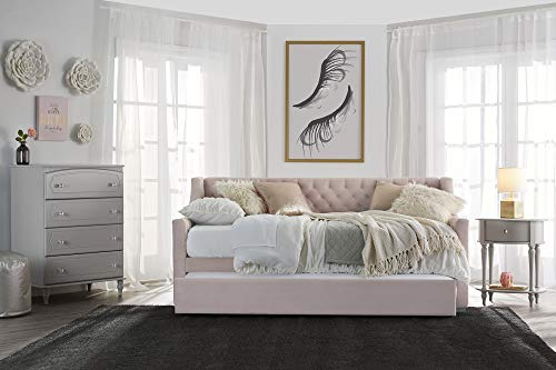 Little Seeds Ambrosia Diamond Tufted Upholstered Design Daybed and Trundle Set, Twin Size Frame, Pink