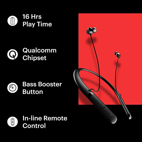 41nbM1s3nfL Noise Tune Charge Wireless Bluetooth Earphones with Bass Booster Button for Deep Bass and Stunning Audio Clarity, Ultra-Long Playback up to 16 Hours, IPX5 Sweat Proof (Jet Black)